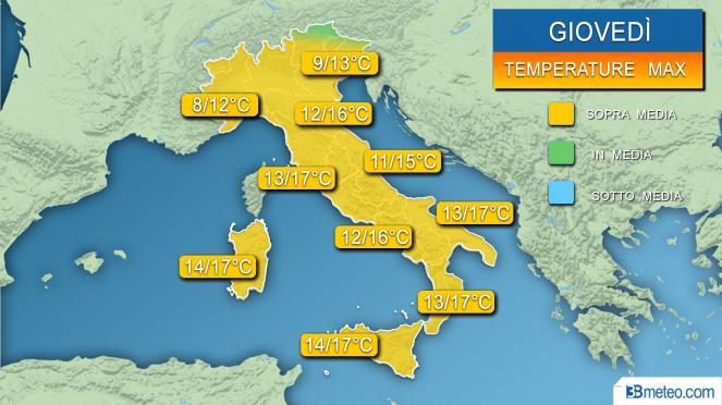Temperature massime previste per giovedì 30 gennaio