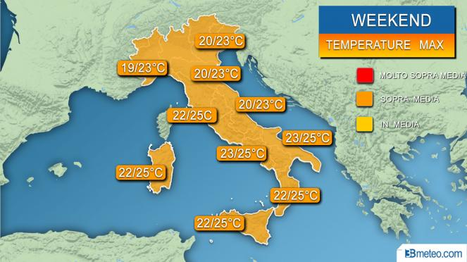 Temperature massime previste per il weekend