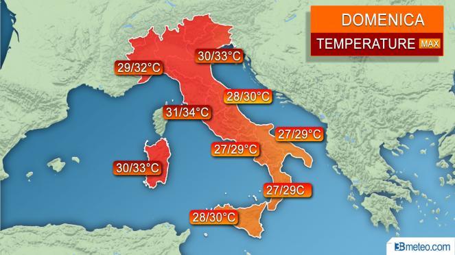 Temperature massime previste per la giornata di Domenica