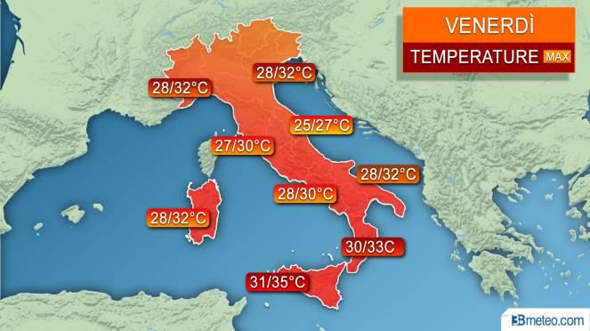 Temperature massime previste per la giornata di Venerdì