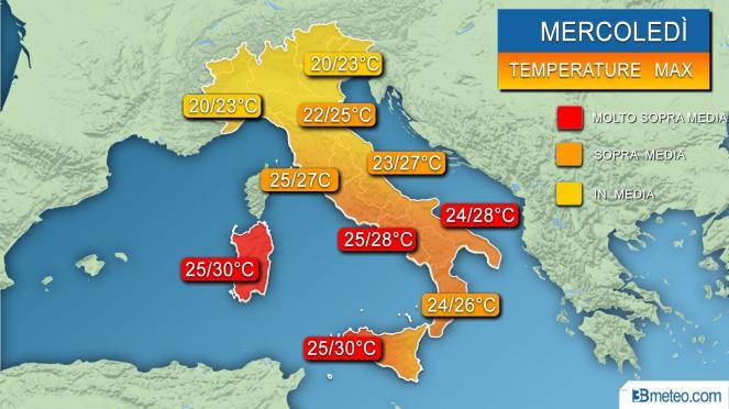 Temperature massime previste per mercoledì