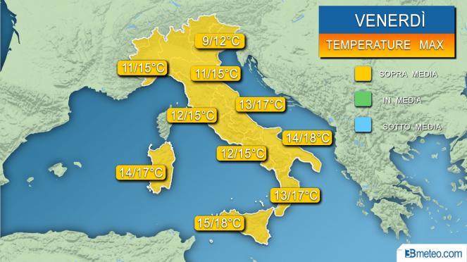 Temperature massime previste per venerdì 31 gennaio