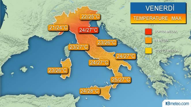 Temporali nel Veneziano, temperature in picchiata
