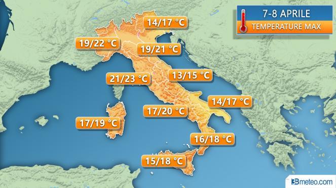 Temperature massime prima parte prossime settimana