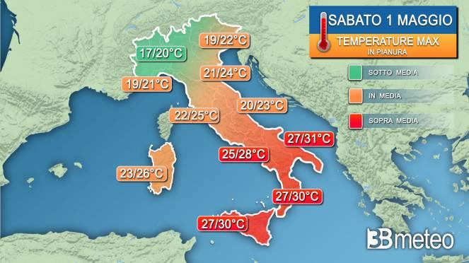 Temperature massime sabato 1 maggio
