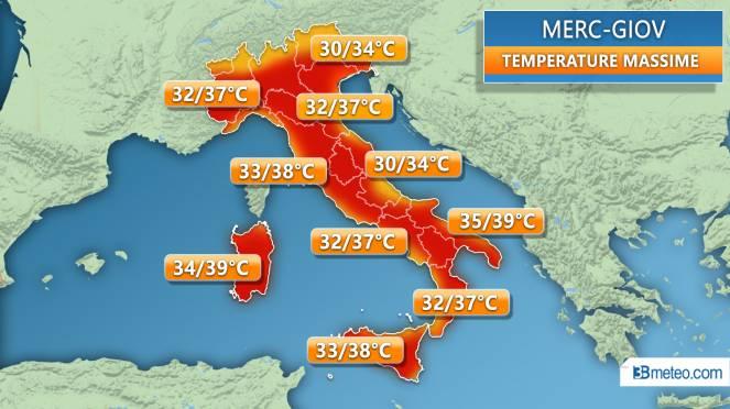 Temperature massime tra mercoledì e giovedì
