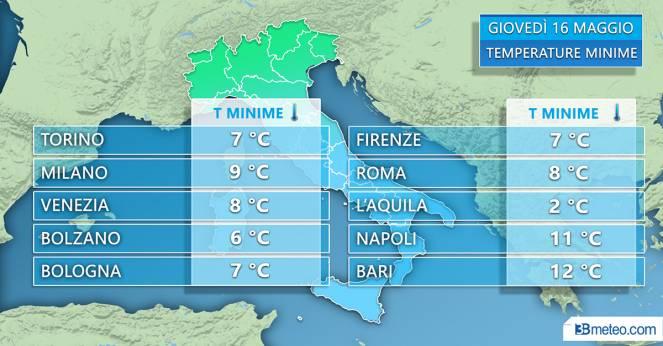 Temperature minime attese giovedì 16 maggio