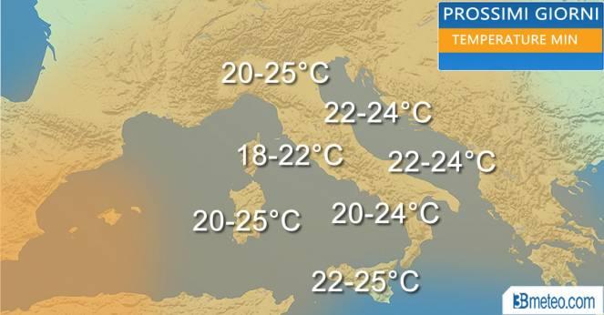 Temperature minime del weekend