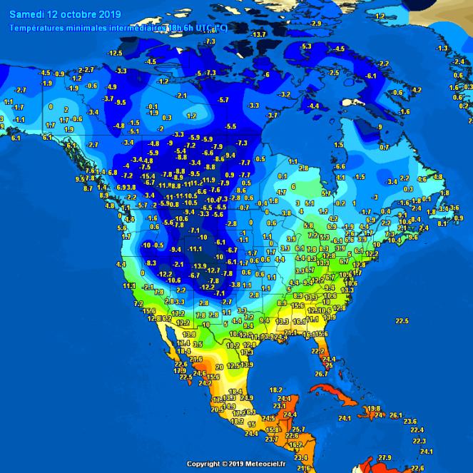 Temperature minime della notte del 12 ottobre