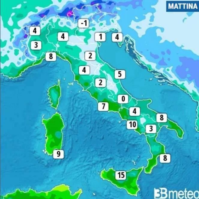 Temperature minime di martedì