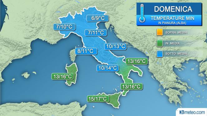 Temperaturas mínimas domingo (amanecer)