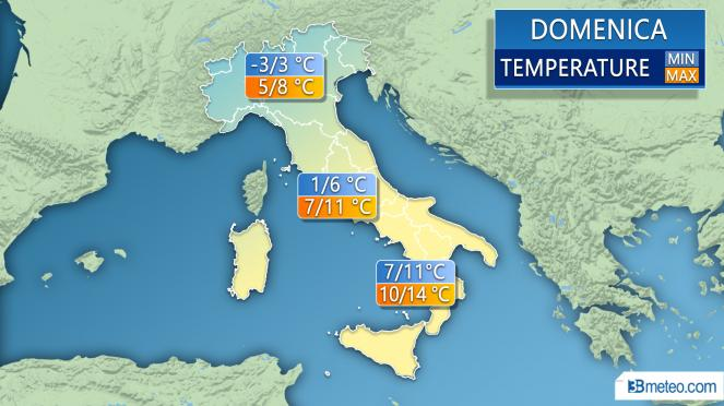 Temperature minime e massime per domenica