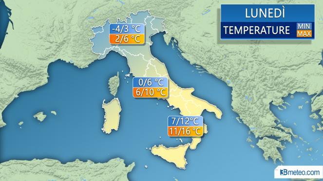 Temperature minime e massime per lunedì