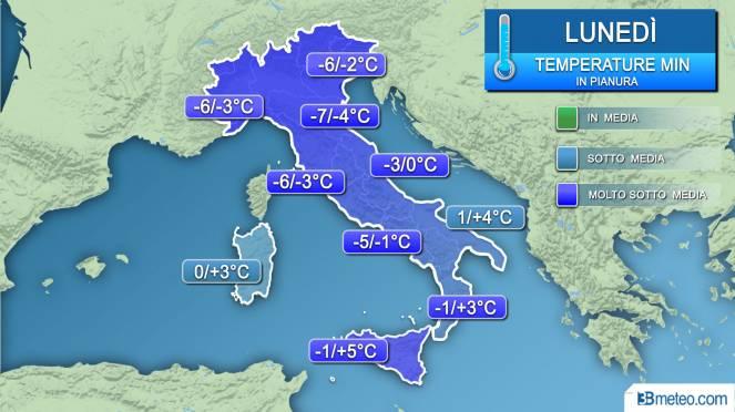 Temperature minime lunedì (alba)