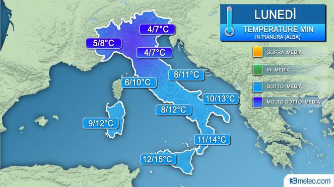 Previsioni del tempo per lunedì