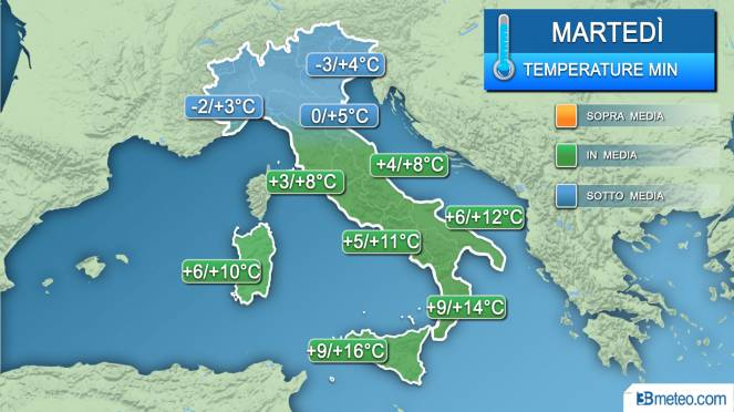 temperature minime martedì