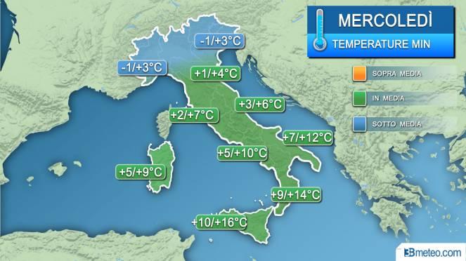 Temperature minime mercoledì