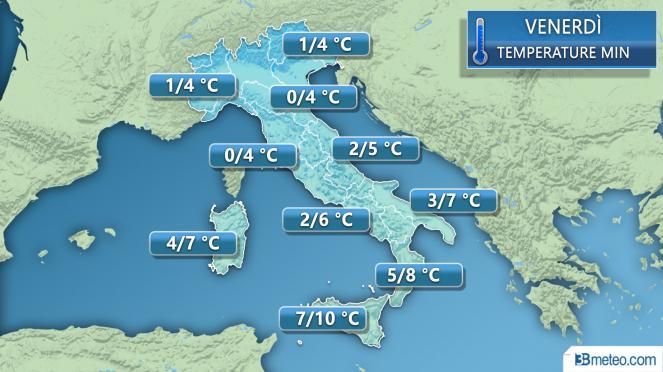 Temperature minime previste per venerdì