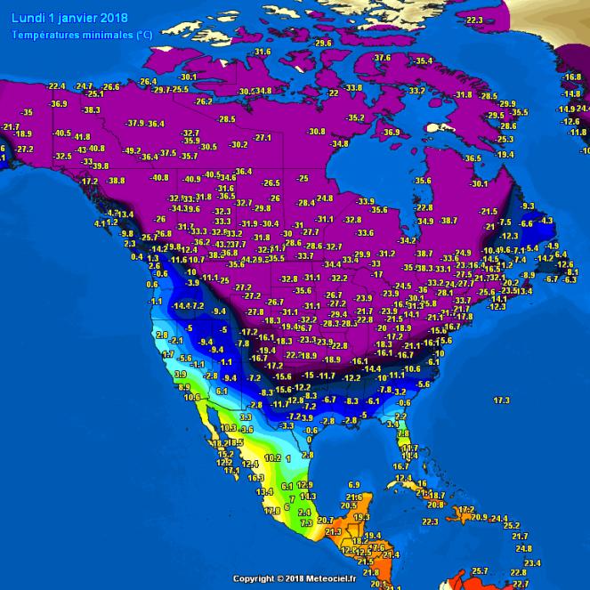 Temperature minime registrare 2 gennaio- fonte: meteociel.fr