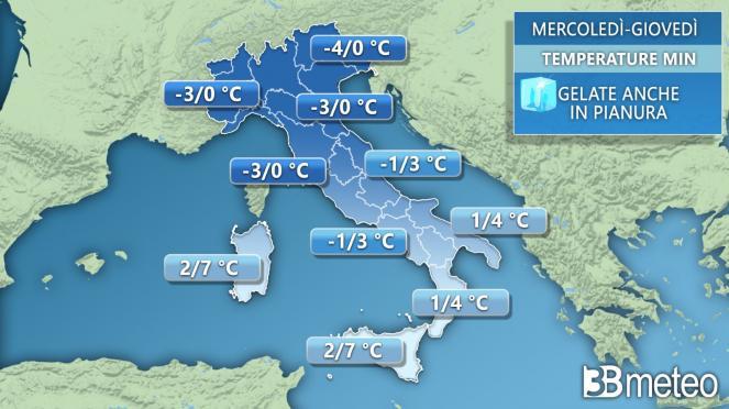 Temperature minime tra mercoledì e giovedì in Italia