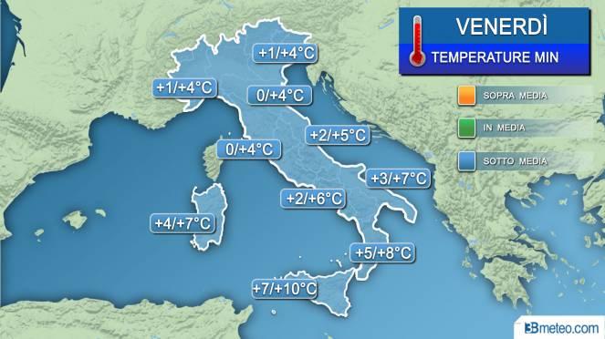 Temperature minime venerdì (alba)
