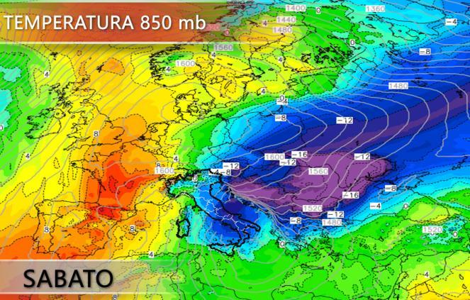 Temperature previste a 850 hPa nella giornata di sabato