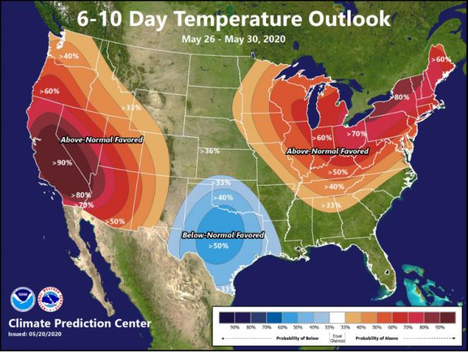 Temperature previste dal Climate Prediction Center (USA).