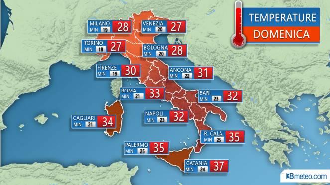 Temperature previste Domenica 22 Luglio