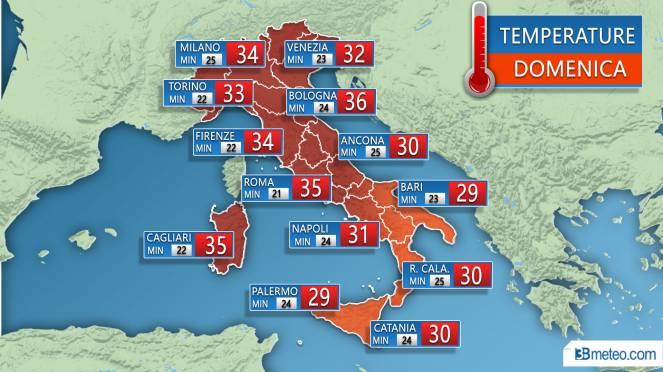 Temperature previste Domenica 29 Luglio