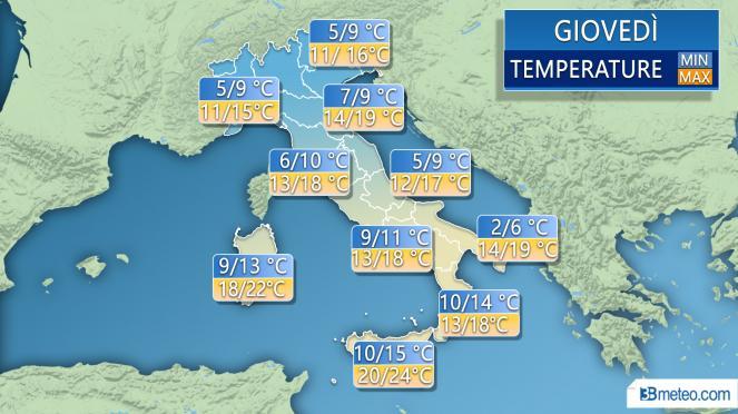Temperature previste giovedì
