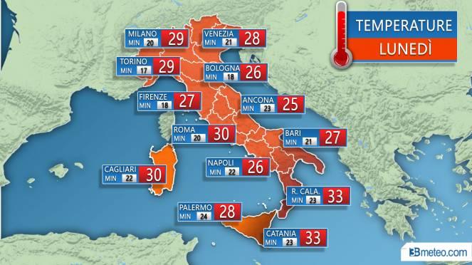 Temperature previste Lunedì 23 Luglio