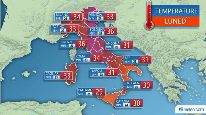 Temperature previste Lunedì 30 Luglio