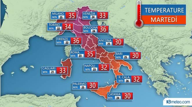 Temperature previste Martedì 31 Luglio