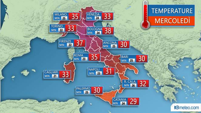 Temperature previste Mercoledì 1 Agosto