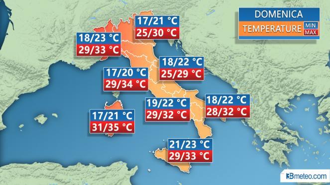 Temperature previste per domenica 1 luglio
