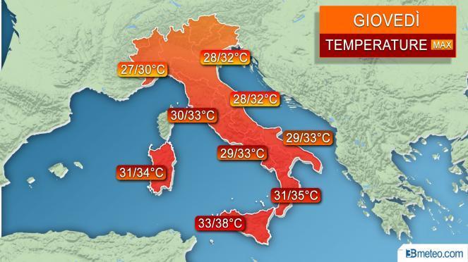 Temperature previste per giovedì 5 luglio