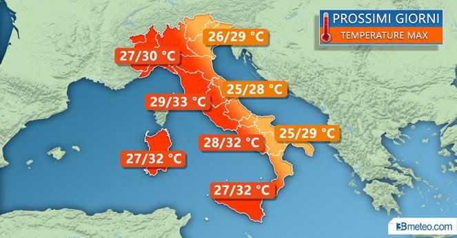 Temperature previste per i prossimi giorni
