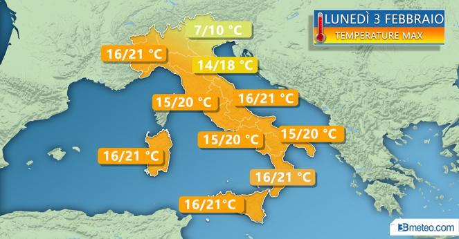 Temperature previste per lunedì