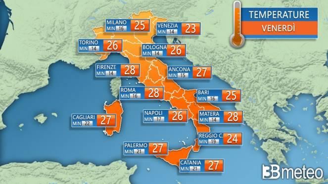 Temperature previste per venerdì