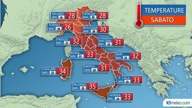 Temperature previste Sabato 21 Luglio