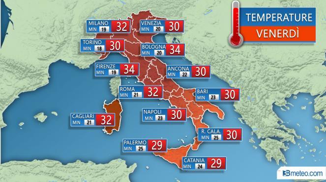 Temperature previste Venerdì 20 Luglio