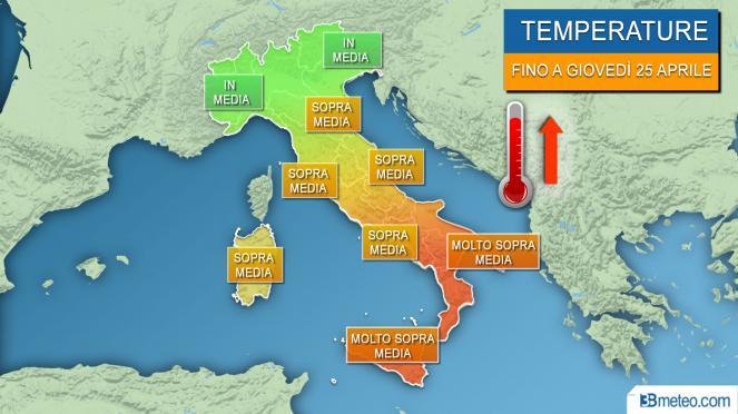 Temperature sopra media nei prossimi giorni, anche caldo al Sud