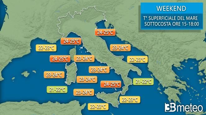 Temperature superficiali del mare sotto costa nelle ore centrali