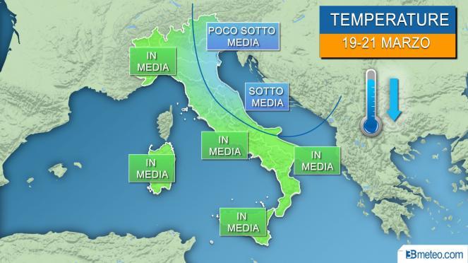 Temperature tra martedì e giovedì, ancora localmente sotto media