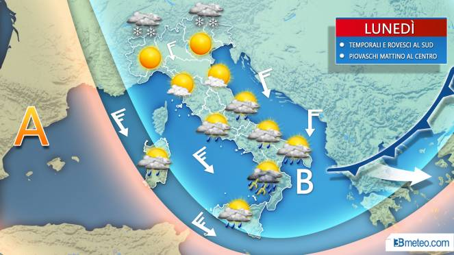 Previsioni meteo, da giovedì perturbazione con temporali e neve