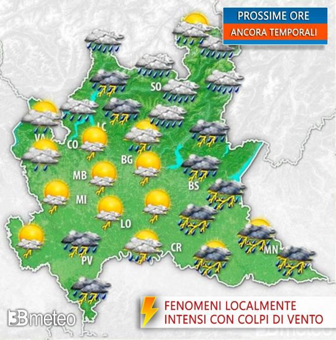 Temporali in Lombardia nelle prossime ore