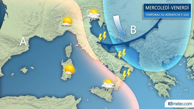 Temporali lambiscono Adriatiche e Sud da metà settimana