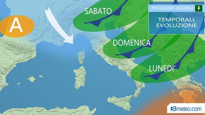 temporali nel weekend, le regioni più coinvolte