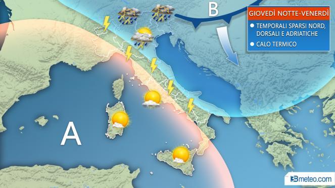 Temporali sparsi al Nord e Adriatiche tra giovedì sera e venerdì