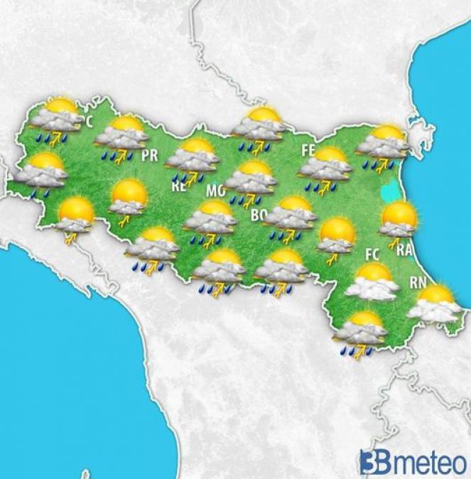 Temporali tra la tarda mattinata e il pomeriggio di mercoledì sull'Emilia Romagna